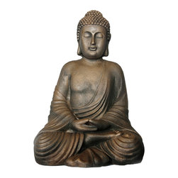 Everybody's Ayurveda - Seated Buddha Sculpture in Resin - Seated Buddha Sculpture. Resin. Made in India. This sitting representation of the Buddha radiates serenity and stillness. Adapted from a 12th century sculpture, Buddha Seated in Meditation, this crushed stone resin figure will bring a peaceful presence to any home or meditation space.Package Includes:Buddha Sculpture OnlyDimensions:Width: 14 inch