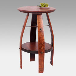 2 Day Designs - 2 Day Designs Reclaimed Wine2Night Bistro Table Multicolor - 819T - Shop for Dining Tables from Hayneedle.com! Add handy serving space to your kitchen with the Wine2Night Bistro Table. The top is an actual oak barrel head from a recycled wine barrel. The elegantly bowed legs are constructed from oak barrel staves. The bottom shelf provides convenient storage and display space. Wrought iron is used for reinforcement while the lovely pine finish complements any decor.About 2-Day Designs Inc.2-Day Designs Inc. is a proud manufacturer of unique home furnishings. For those looking for a little something different browse the company's collections and you will certainly find it with designs that will make a statement in any room of your home. From dining tables and chairs to occasional tables and from hutches and cupboards to keepsake boxes and trunks you are sure to fall in love with something from the 2-Day Designs collections. Environmentally conscious 2-Day Designs uses recycled antique lumber whenever possible. All 2-Day Designs pieces are crafted with the highest quality standards from start to finish.