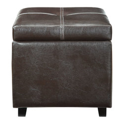 LexMod - Treasure Espresso Vinyl Storage Cube Ottoman - Keep your bounty close at hand with the Treasure Ottoman. A rich espresso finish with piped edging lends an Old World style to an otherwise modern piece. Prop your feet up, or stow away your possessions, with durable simplicity positioned on four wooden legs.