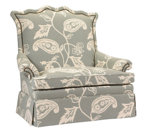 Kathy Kuo Home - Beziers French Country Green Paisley Upholstered Skirted Settee - Lounge in this luxuriously green paisley upholstered settee and enjoy the beauty and comfort of classic craftsmanship. No detail is overlooked, from the serpentine high back to the oversized pillows to the gorgeous, gathered skirt. Whimsical fabric makes each sofa a unique work of art. Made to order in the USA; please allow 3 months lead time to ship.