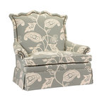 Kathy Kuo Home - Beziers French Country Green Paisley Upholstered Skirted Settee - Lounge in this luxuriously green paisley upholstered settee and enjoy the beauty and comfort of classic craftsmanship. No detail is overlooked, from the serpentine high back to the oversized pillows to the gorgeous, gathered skirt. Whimsical fabric makes each sofa a unique work of art. Made to order in the USA; please allow 6-12 weeks lead time to ship.