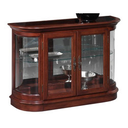 Jasper Cabinets - Demilune Curio Console w Mirror Back and Curv - Glass doors and side panels allow items inside this classic curio console to be beautifully displayed, making it a fashionable and functional addition to any decor. It has a curved front and is highlighted by a wood frame in dark cherry finish for added style. 46 x 18 x 31 Screwed on wood backs. Mirrored back with glass sides. Doors fitted with wood strips. Floor levelers. Adjustable plate grooved shelves. Light at top and frosted top glass. No Lock. Hand rubbed stained finished curios. Weighted base stability for opening and closing doors. Made from solid wood and veneers. Assembly required. Interior: 39.75 in. L x 10.125 in. D x 24.875 in. H. Overall: 46 in. L x 18 in. D x 31 in. H (79 lbs.)Jasper Cabinet's large selection of curios are made to meet our long standing tradition of excellence.