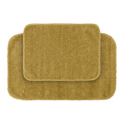 None - Plush Deluxe Gold Washable Bath Rug (Set of 2) - Relish the luxurious softness of the Plush Deluxe bathroom collection with this convenient set of two gold bath rugs. The rugs add a tasteful color to bathroom space and feature safe non-skid backing.