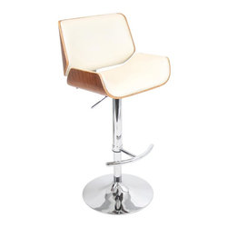 Lumisource - Santi Barstool in Walnut Finish - Adjustable seat height from 27.5 to 32.75 in.. Adjustable height from 39 to 44.25 in.. Made from bent wood, PU, foam and chrome. Walnut and cream PU finish. Assembly required. 18.5 in. W x 20 in. D x 44.25 in. H (26.5 lbs.)Smooth supportive contours make this one of our most versatile barstools ever. The slightly raised edges of the seat and back help maximize comfort while also adding sleek style. If you prefer the quite afternoon, the clean cream seat with walnut wood is the Sunday afternoon seat for you. Sits atop chrome base and elegant curved footrest.