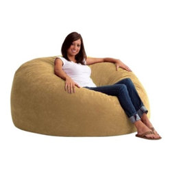"Comfort Research - ""Comfort Research 5' King Fuf in Comfort Suede, Sand Dune"" - ""This is the chair that brought bean bags out of the 1970s and into the bedrooms and dorm rooms all over the world. The first one to use patented memory foam, the Fuf is one-of-a-kind. Spend five minutes on a Fuf and your body will thank you for it.Dimensions (W x L x H): 54"""" x 54"""" x 42""""Filled with super soft and long lasting fuf foam re-fuf again and again for custom comfortCovered in soft, durable fabricGreat for basements, bedrooms, dorm rooms, or even the family roomPlace it on its side for more of a lounge position or upright for more back supportAvailable in assorted sizes and colors"""