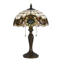 Cal Lighting - Cal Lighting BO-2388TB Tiffany 2 Light Pedestal Base Table Lamp - Features: