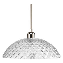 Progress Lighting - Progress Lighting P5115-104 One-Light Pendant Clear Diamond Patterned Glass Shad - One-light pendant