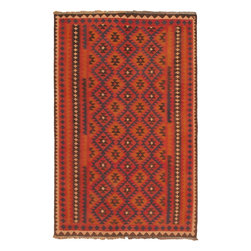 "Torabi Rugs - Hand-knotted Afghan Shiravan Light Camel Wool Kilim 6'4"" x 10'0"" - These Caucasus style rugs are primarily hand woven by nomadic tribal weavers in Afghanistan. These rugs have a very bold geometric design and multiple borders, which borrow largely from Turkoman and Tajik tribal influences."