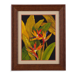 Bassett Mirror - Bassett Mirror Framed Under Glass Art, Dramatic Bird of Paradise - Dramatic Bird of Paradise