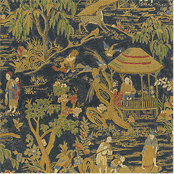 Fishing Village Fabric, Navy - The Fishing Village fabric in navy by Thibaut is a very elegant design. I love it for a library or study.