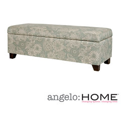 ANGELOHOME - angelo:HOME Kent Vintage Sea Foam Blue Floral Wall Hugger Trunk Storage Ottoman - The angelo:HOME Kent bench trunk ottoman with storage was designed by Angelo Surmelis. The Kent wall hugger bench storage trunk can fit up against a wall while still being able to open the lid easily.