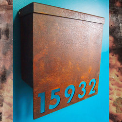Modern Mailbox - Custom House Number Mailbox No. 1310 Drop Front in Rusted Steel