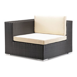 Zuo Modern - Cartagena Corner Espresso - One of Zuo's favorite. Enjoy perfect seating and comfort, while the design, looks and style create a perfect ambiance for a relaxing evening or a fun party. The Cartagena collection is a modular outdoor set, capable of seating a sectional, loveseat, armchair and coffee table. The frames are constructed from epoxy coated aluminum and the weave from UV treated polypropylene for maximum resistance against the weather elements. The Table has a 10 mm thick clear tempered glass top, and the cushions are made with a UV and moisture resistant washable polyester fabric. The Cartagena has the looks and comfort that gives your patio, terrace, porch or backyard a contemporary and elegant look. Don't forget to accentuate your Cartagena with some colorful Laguna cushions.