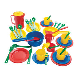 The Original Toy Company - The Original Toy Company Kids Children Play Kitchen Play Time - This Danish made 42 pcs. set will offer the child hours of imaginative play. This set contains - Sauce pan, Frying pan, Coffee pot, Creamer, Sugar cup, Kitchen untensils, Coffee Cups, Saucers, Plates, Bowls, Knives, Forks, Spoons,Tea spoons. Weight: 3 lbs.