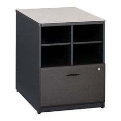 Bush Business - 24 in. Storage Unit in White Spectrum and Sla - Color: White Spectrum/SlateProvides open and concealed storage. Lateral file drawer holds letter, legal, or A4 files. Sturdy 1 in.-thick top surface. Wire management features. Durable PVC edge banding stands up to bumps and collisions. Levelers adjust for stability on uneven floors. 23.543 in. W x 23.346 in. D x 29.764 in. H