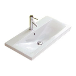 Althea - Simple Rectangular Wall Mounted or Self Rimming Bathroom Sink - Simple hardly describes this beautiful ceramic sink. Sleek and chic, it's made in Italy to exacting standards. You'll have years of face washing enjoyment ahead.