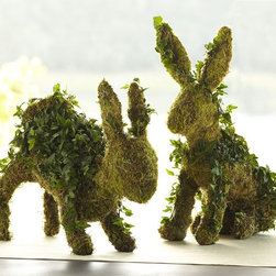 Live Ivy Bunny Topiary - Bring some live greenery to Easter decor with these bunny topiaries.