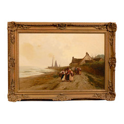 Consigned English Oil Painting by B. Davis - Bring the beauty of the English countryside to your wall with this charming oil painting. This peaceful scene of ladies walking along the shore was painted by B. Davis and comes in its original carved wood frame.