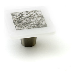 "Windborne Studios - Stratum Foil Glass Knobs and Pulls, Ash, 1.5"" Square - The ""Stratum Foil Collection"" is made with layering textures fused inside the glass creating a framed piece of art."