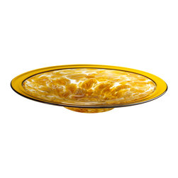 Kathy Kuo Home - Large Catalan Amber Honey Glass Center Plate Bowl - The art and craft of glass is brought beautifully to light in this delicate bowl.  At the center, a shard effect layering of color; along the rim a solid golden line.  A terrific functional piece for both modern and contemporary spaces.