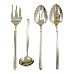 Ginkgo - Svelte 4-Pc. Flatware Hostess Set - Includes 1 pierced serving spoon, 1 serving spoon, 1 cold meat fork and 1 sauce ladle. Sleek and thin. Fully forged and rounded pattern. Material: 18/0 Stainless steelSleek and thin, but fully forged and rounded to give every piece great weight and feel. The distinct minimalism appearance geared for the contemporary table, but elegant in  every way and suited to casual and formal settings.