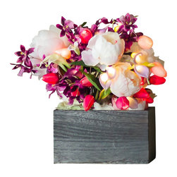 The Firefly Garden - Spring Bouquet - Illuminated Floral Design, Kiri Wood Vase - Housed in a Kiri wood vase, flared mirror, or grey square vase, Spring Bouquet combines the spaciousness of white Peonies with the beauty of illuminated Tulips and Calla Lilies. This 12 inch arrangement makes a perfect gift for Mother's Day, a special birthday or anniversary. Uses 3 replaceable AA batteries.