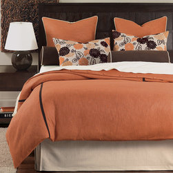 Reeves Bedding Collection Option A - Earth tones of pumpkin, beige, and chocolate complement a chic, slightly retro floral print with flocked leaves in the Reeves collection. Brown velvet ribbon runs along the face of the duvet (also available as a comforter) for a tailored look.