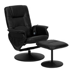 Flash Furniture - Massaging Leather Wrapped Base Recliner w Ott - Massage controls on recliner and ottoman. Comfortably designed chair. Black leather upholstery. Deep side pockets. Swivel seat. On/off remote control. Heat control. Five massage modes. Three intensity levels (Low, Medium and Hi). Massages shoulders, lumbar, seat and thighs. Green certified: Yes. Supplier warranty: Our products have a two year warranty for parts. This warrants against defects in manufacturing. If the products are used excessively (more than 8 hours/day), and have excessive weight (over 225 lbs.) applied, the warranty is void. New parts will be sent out, or the item will be replaced at our discretion. Made from foam, leather and metal. Minimal assembly required. Seat: 20 in. W x 19.5 in. D x 18.5 in. H. Seat thickness: 4 in.. Back: 22.5 in. W x 26.5 in. H. Arm height from floor: 23.5 in.. Arm height from seat: 8 in.. Weight capacity: 250 lbs.. Chair: 29.5 in. W x 28 - 40 in. D x 39 in. H (42 lbs.). Ottoman: 18.5 in. W x 17 in. D x 16.5 in. H