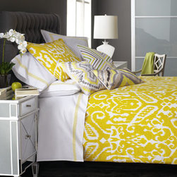 "Trina Turk - Trina Turk Butterfly Pillow, 18""Sq. - Yellow and white ""Ikat"" bed linens show the brilliance of Trina Turk. Machine wash linens; spot clean pillows. Imported. Three-piece comforter sets are ikat-pattern cotton jacquard. Queen comforter set includes 92"" x 96"" comforter and two standard shams. King comforter set includes 110"" x 96"" com"