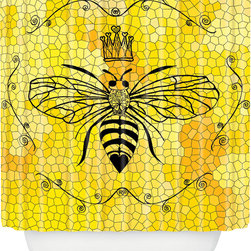 DENY Designs - DENY Designs Lisa Argyropoulos Queen Bee Shower Curtain - Start Some Buzz. Bath time starting to feel a little blah? Give your tub or shower some pop with the Lisa Argyropoulos Queen Bee Shower Curtain from DENY Designs. Made from machine-washable polyester, this shower curtain features a whimsical bee theme, complete with honeycomb background and queen bee detailing. Add it to your home for a splash of color, or use it to infuse your bathroom with eclectic style. Scrub a dub dub!Artist: Lisa ArgyropoulosA portion of proceeds goes directly to the artistsButtonhole openings; shower rings are not includedMade in the USA