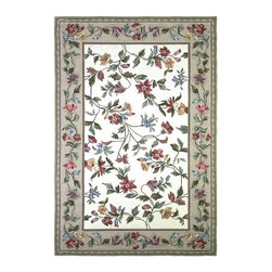 """Kas - Country & Floral Colonial 8'x10'6"""" Rectangle Ivory Area Rug - The Colonial area rug Collection offers an affordable assortment of Country & Floral stylings. Colonial features a blend of natural Slate Blue color. Hand Hooked of 100% Wool the Colonial Collection is an intriguing compliment to any decor."""