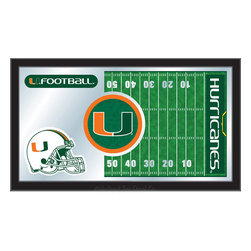 "Holland Bar Stool - Holland Bar Stool Miami (FL) Football Mirror - Miami (FL) Football Mirror belongs to College Collection by Holland Bar Stool The perfect way to show your school pride, our Football Mirror displays your school's symbols with a style that fits any setting.  With it's simple but elegant design, colors burst through the 1/8"" thick glass and are highlighted by the mirrored accents.  Framed with a black, 1 1/4 wrapped wood frame with saw tooth hangers, this 15""(H) x 26""(W) mirror is ideal for your office, garage, or any room of the house.  Whether purchasing as a gift for a recent grad, sports superfan, or for yourself, you can take satisfaction knowing you're buying a mirror that is proudly Made in the USA by Holland Bar Stool Company, Holland, MI.   Mirror (1)"