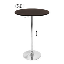 Lumisource - Adjustable Bar Table with Brown Top - The Adjustable Bar Table is versatile for many uses. Its non-swivel top provides extra stability while its hydraulic lift provides various height settings allowing for an intimate table for two or a bar table at a party!