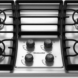"KitchenAid 30-Inch 4-Burner Gas Cooktop - Drop-in cooktops traditionally have their control knobs on top, (as opposed to a rangetop which looks like a range with the knobs on the front with the ovens removed). Most drop-in gas cooktops have sealed burners and don't have as many BTU's as their rangetop alternatives. They most often come in 30"" and 36"" sizes and usually come with burner option only, not integrated grills or griddles which are seen in rangetop options."