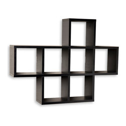 "Danya B. - Cubby Laminated Shelving Unit, Black - Seven storage cubbies plus level display space on top this cubby shelving unit makes space utilization efficient & is perfect for displaying your small decorative items, collectibles, photos, toys, awards and more. It can be either hung or placed on a mantel or the floor. With its contemporary espresso, white or black finishes, it is an ideal accent for any living space. Easy to install with no visible connectors or hanging hardware. All hardware included. Each cubby measures approximately 7 x 7"". Overall measures: 31 x 5.5 x 23"".  ."