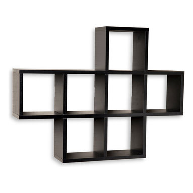 """Danya B. - Cubby Laminated Shelving Unit, Black - Seven storage cubbies plus level display space on top this cubby shelving unit makes space utilization efficient & is perfect for displaying your small decorative items, collectibles, photos, toys, awards and more. It can be either hung or placed on a mantel or the floor. With its contemporary espresso, white or black finishes, it is an ideal accent for any living space. Easy to install with no visible connectors or hanging hardware. All hardware included. Each cubby measures approximately 7 x 7"""". Overall measures: 31 x 5.5 x 23"""".  ."""