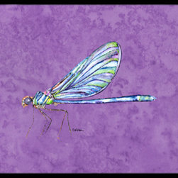 Caroline's Treasures - Dragonfly on Purple Indoor or Outdoor Mat 24 x 36 Doormat - Indoor / Outdoor Floor Mat 24 inch by 36 inch Action Back Felt Floor Mat / Carpet / Rug that is Made and Printed in the USA. A Black binding tape is sewn around the mat for durability and to nicely frame the artwork. The mat has been permanently dyed for moderate traffic and can be placed inside or out (only under a covered space). Durable and fade resistant. The back of the mat is rubber backed to keep the mat from slipping on a smooth floor. Wash with soapwater.