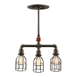 West Ninth Vintage - Industrial Triple Pendant Light - Triple cage industrial style fixture -  authentic steel pipe construction and heavy duty sockets add an industrial style edge to residential, retail or commercial space. Accepts all standard bulbs. Featured here with unique Edison bulbs (sold separately) Cages are constructed with rust resistant zinc plating and a heavy duty 10 gauge vinyl coating with a bronze plated 1.5 inch universal collar. The cages are open for easy bulb exchange. Handcrafted and made in the USA.