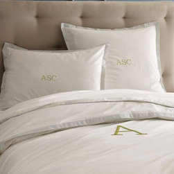 Stripe Edge Duvet - This crisp white duvet can be monogrammed, and who doesn't like seeing their initials in print?