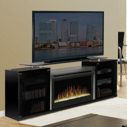 "Dimplex Marana Black Entertainment Center Electric Fireplace - The Dimplex Marana Black Entertainment Center Electric Fireplace doesn't waste space, because it combines two of your favorite activities. There's plenty of room for you to cozy up to a warm fire and watch the game or your favorite movie. Doubling as a TV console, this electric fireplace heats a room as large as 400 square feet and creates an inviting space you won't want to leave. Choose from inner glow logs molded from wood logs for incredible realism or a contemporary glass ember bed that creates an alluring fire on ice effect. You can create the perfect atmosphere each time you ""light the fire,"" because you control the levels of interior light, flame speed, and heat. Enjoy the Marana electric fireplace in summer months, too. The flame operates with or without heat, so you can relax and unwind no matter what the temperature. Storage cabinets on the sides of the stainless steel fireplace conveniently store DVDs, cable boxes, and other media devices. There is something very soothing about a fireplace/TV combination. Sit back, relax, and let go of the day's concerns.About DimplexDimplex North America Limited is the world leader in electric heating, offering a wide range of residential, commercial, and industrial products. The company's commitment to innovation has fostered outstanding product development and design excellence. Recent innovations include the patented electric flame technology - the company made history in the fireplace industry when it developed and produced the first electric fireplace with a truly realistic ""wood burning"" flame effect in 1995. The company since has been granted 87 patents covering various areas of electric flame technology, and 37 more are pending. Dimplex is a green choice, because its products do not produce carbon monoxide or other emissions."