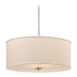 Large Modern Drum Pendant Light in Polished Chrome Finish -