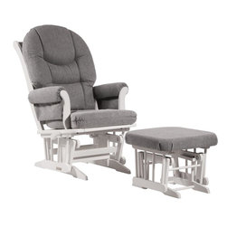Dutailier - Sleigh glider-multiposition, recline and nursing ottoman combo - dark gray - Dutailier's exclusive gliding system with top quality sealed ball bearings. Multiposition mechanism allows to stop the glider at the desired position. Great reclining mechanism allows backrest to be fully adjustable. Hardwood frame in white finish. Matching nursing ottoman included. Glider: 27 in. x 31 x 42.5 in.. Ottoman: 20 in. x 18 in. x 14.75 in.Ideal for nursing or simply relaxing, this Sleigh glider and nursing ottoman combo offers an exceptionally smooth and extra long glide motion with thick cushions and padded arms that will add class and elegance to your decor. The multiposition mechanism locks the glider in 6 different positions and makes it easier to sit in or step out of the glider. In addition, it features a reclining mechanism to maximize your comfort. Use the retractable footrest of the nursing ottoman for an optimal nursing position. There are no sharp edges, the finish is toxic free and this product meets all safety standards.