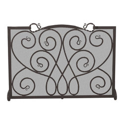 Uniflame - Uniflame S-1084 Single Panel Black Wrought Iron Ornate Screen - Single Panel Black Wrought Iron Ornate Screen belongs to Fireplace Accessories Collection by Uniflame