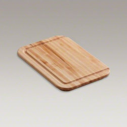 KOHLER - KOHLER Hardwood cutting board, for Undertone(R), Cadence(TM), Iron/Tones(R), and - Made of beautiful, durable hardwood, this cutting board features a gracefully curved shape and grooved channel that directs liquids away from the edges and into the sink. The board has been specifically crafted to fit over select sinks, bringing convenience to your kitchen workspace.