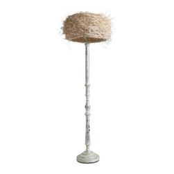 ParrotUncle - Country Style Wooden Candlestick Floor Lamp With Bamboo Shade - Wooden carved base with white painting finish makes this floor lamp rustic. And the bamboo filament shade will give you an impression. Yellow light shines from the off white bamboo shade will inspire you.