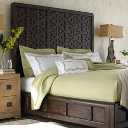 """""""Marrakesh"""" Bedroom Furniture - The """"Marrakesh"""" bed is casually styled but impressive in size and presence.  It will make a dramatic and beautiful statement in the bedroom.Pricing shown is for Queen sizeAvailable in:    * Queen bed, 87""""L x 67""""w x 75""""T.    * King bed, 87""""L x 85""""W x 75""""T."""