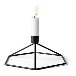 MENU - POV Table Candleholder, Black - POV Candle Holder is a light, smart and playful product that can be used as a single piece or in a group. Beautiful on its own and stunning as graphical patterns on the wall or on the table.
