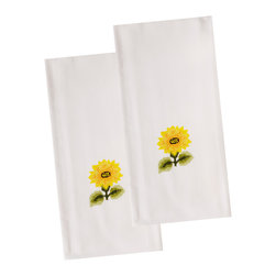 The Designs of Distinction - Embroidered Guest Towels - Set of 2, Sunflower - These are 100% Cotton with hem stitched bottom and beautifully embroidered motifs.