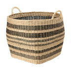 Kouboo - Striped Wicker Storage Basket - This large capacity basket hand woven from Wicker is anybody's home organizing dream. Neatly store away your coverlet and decorative bed pillows when not used, your kids toys, your gift wrap rolls, the fire wood in your cabin and many more bulky items. Or are you on the lookout for a decorative cachepot that can take your large house plant? This sturdy basket with solid handles is woven following old traditions without looking dated. 1 year limited warranty.