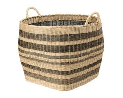 Kouboo - Large Striped Wicker Storage Basket - This large capacity basket hand woven from Wicker is anybody's home organizing dream. Neatly store away your coverlet and decorative bed pillows when not used, your kids toys, your gift wrap rolls, the fire wood in your cabin and many more bulky items. Or are you on the lookout for a decorative cachepot that can take your large house plant? This sturdy basket with solid handles is woven following old traditions without looking dated.1 year limited warranty.